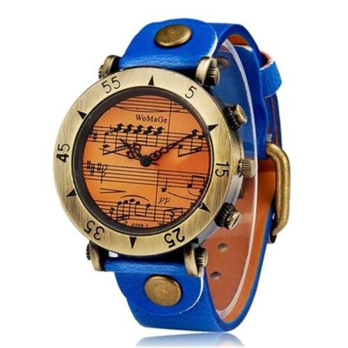 WOMAGE 568-1 women watches Women's Musical Note Round Dial Analog Display Wrist Watch