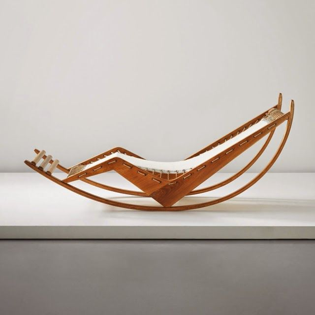 Franco Albini; Oak, Bent Laminated Oak, Fabric, Rope and Aluminium Rocking Chaise Longue, c1940.