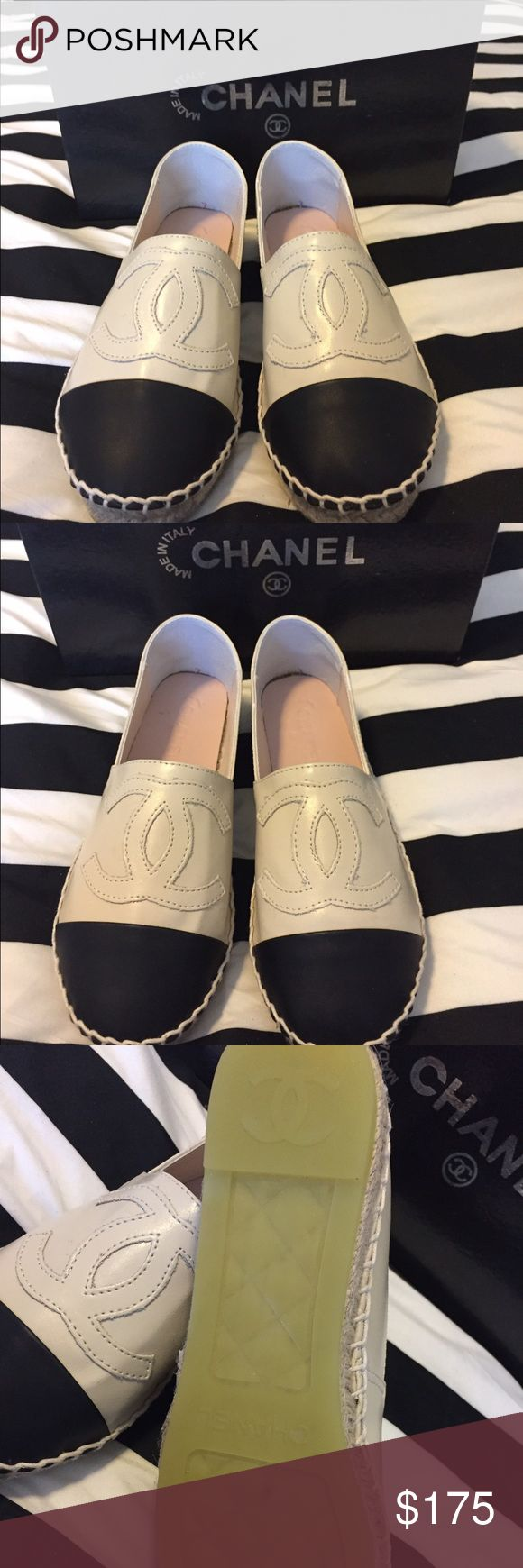 New Beige Espadrilles. Size 6 Size 6 Beige Espadrilles. Price reflects thx. Box included. Shoe says size 37 but fit like size 6. Real leather. Great deal 👍🏾 1:1 Black leather size 6 also available! See closet for more. Fit normal to narrow size foot. CHANEL Shoes Espadrilles