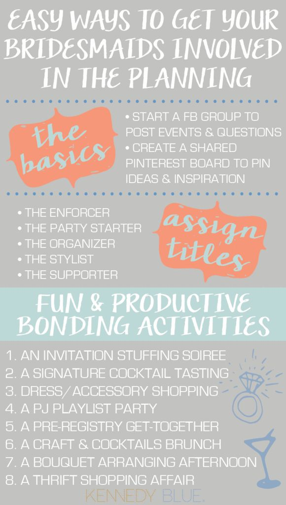 From bonding activities to assigning fun job titles, learn how to get your bridesmaids involved in the wedding plans in a fun & productive way!