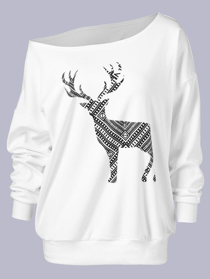 Plus Size Fawn Print Skew Collar Pullover Sweatshirt