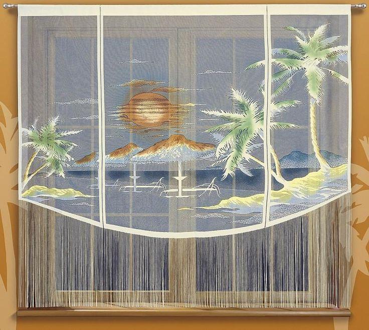 #Firanka KARAIBY Firanka która przeniesie nas na karaibskie, piękne plaże. Za oknem zimno a u nas piekne słońce. Firankę uszyto z kremowego żakardu. Wzór ręcznie malowany. Dół firanki został obszyty długimi frędzlami.  Wymiary  : 200 x 180 cm kasandra.com.pl