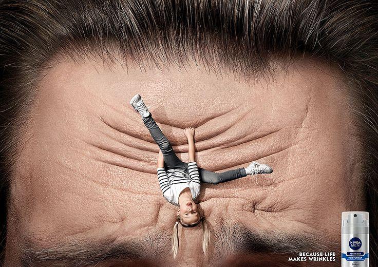 Креативная реклама крема для мужчина  Nivea Men: Because Life Makes Wrinkles  #визуальныекоммуникации #изготовлениерекламы #изготовлениерекламымосква #производстворекламы #производстворекламымосква #visualcommunication