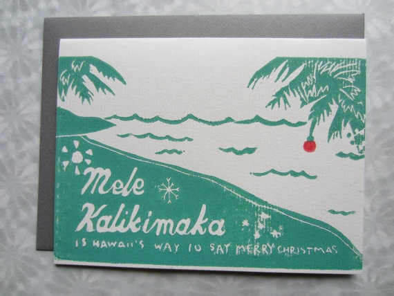mele kalikimaka handmade sea blue lyrical illustration stamp print holiday card | bing crosby and the andrew sisters - mele kalikimaka