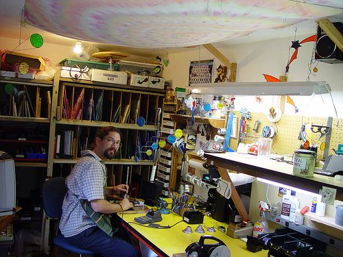 in the Stained Glass Studio sea glass jeweler...He rocks!