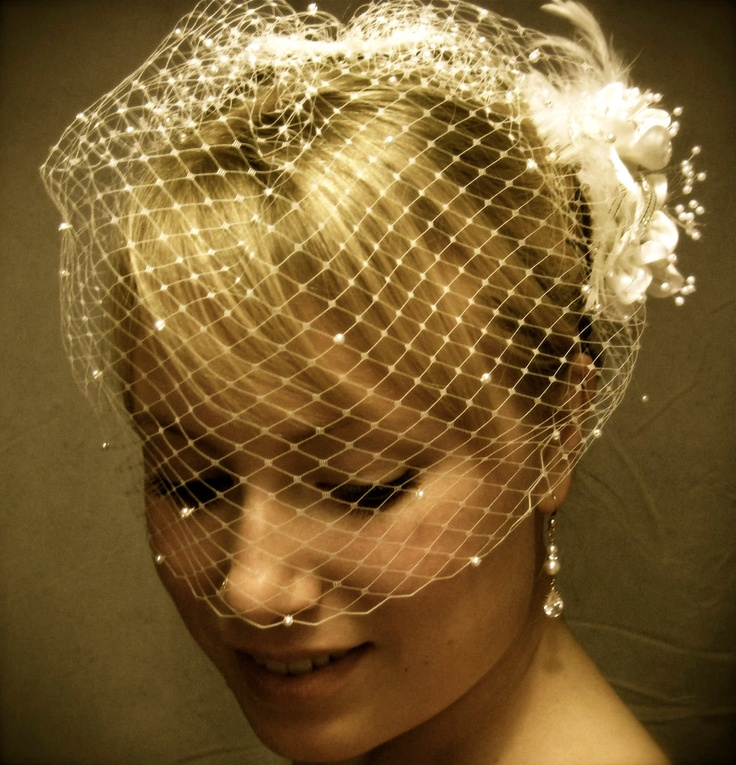 Russian Style Blusher Birdcage Veils - Adorned with White or Ivory Pearls. $38.50, via Etsy.