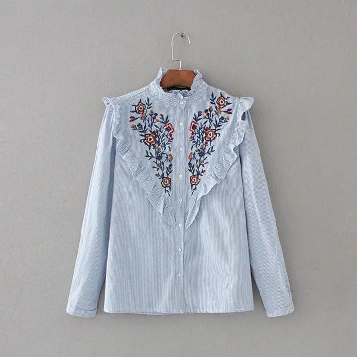 2016 autumn women European sweet fashion embroidered striped ruffles shirt long-sleeved stand collar blouse