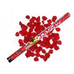 Festartikler   Konfettirør af silke med rosenblade og en flot røde farve   80 cm