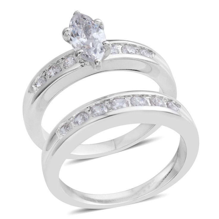 WHITE VVS SIMULATED DIAMOND MARQUISE WEDDING RING SET SILVER TONE TRAVEL SIZES #L2D #WEDDINGSET