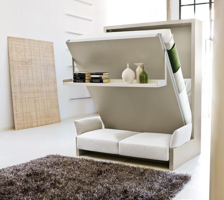 Letto a scomparsa NUOVOLIOLA' 10. Sistema letto a scomparsa matrimoniale, disponibile in diversi colori strutturali e materiali per divano. #interiordesign #design #arredamento #wallbed