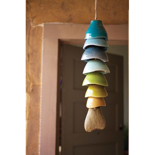 Multi colored 24 inch ceramic fish chime decorative for Fish wind chimes