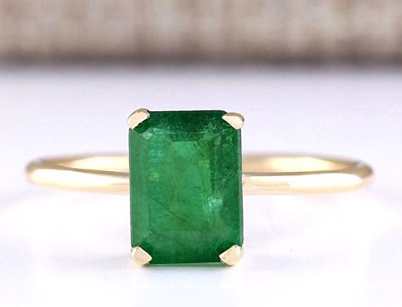 http://rubies.work/0556-emerald-rings/ 1.40 Natural Emerald Ring In 14k yellow Gold by CignoJewels