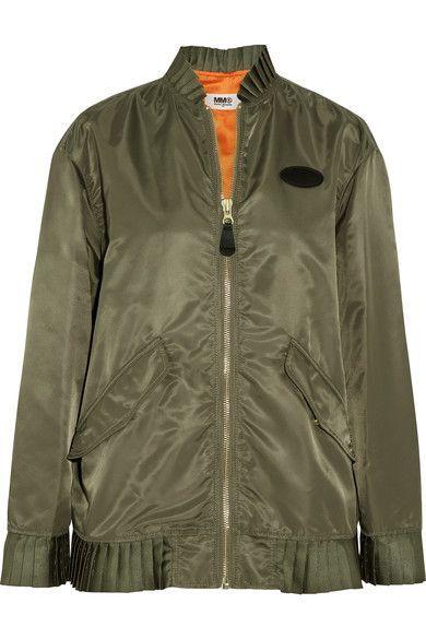 MM6 Maison Margiela - Oversized Pleated Shell Bomber Jacket - Army green - IT