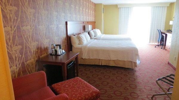 Room with 2 Queen beds at Courtyard Marriott Niagara Falls, Ontario, Canada