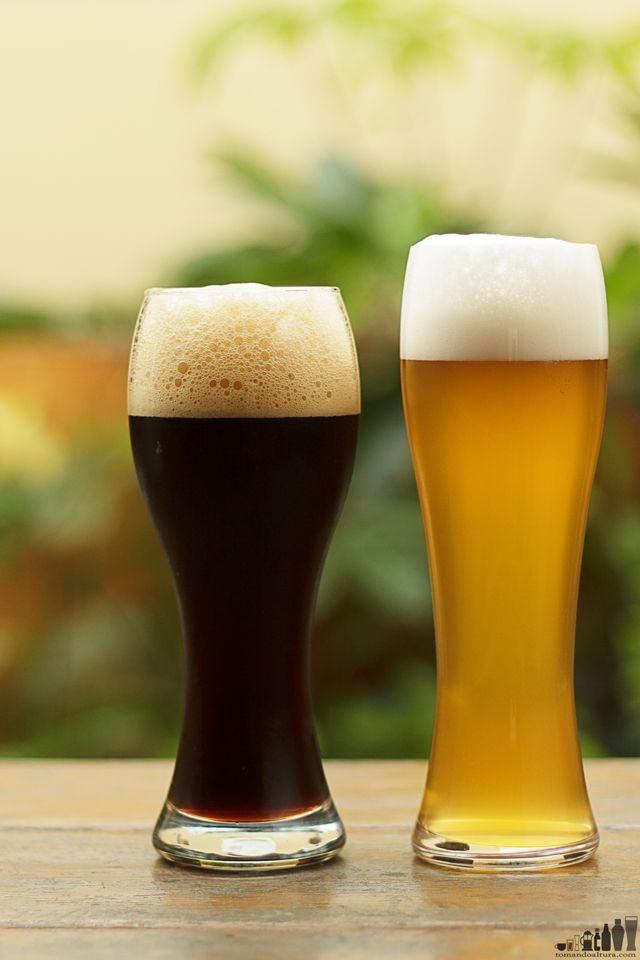 cervezas alemanas: Dunelweizen (izq.) y hefeweizen (der.)