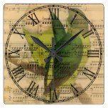 Victorian Music Sheet Watercolor Bird Wallpaper Square Wall Clock  #Bird #Clock #Music #RusticClock #Sheet #Square #Victorian #Wall #Wallpaper #Watercolor The Rustic Clock