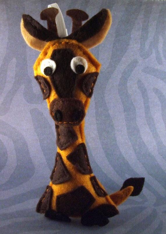 Felt Animal Christmas Ornament  Hannah the Giraffe by Squshies