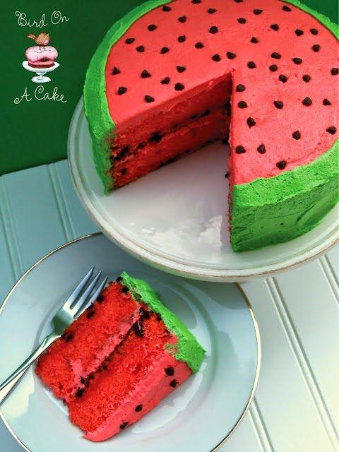 Watermelon Cake    1 box white cake mix  1 (3 oz.) box of watermelon Jell-O powder (reserve 2 ...