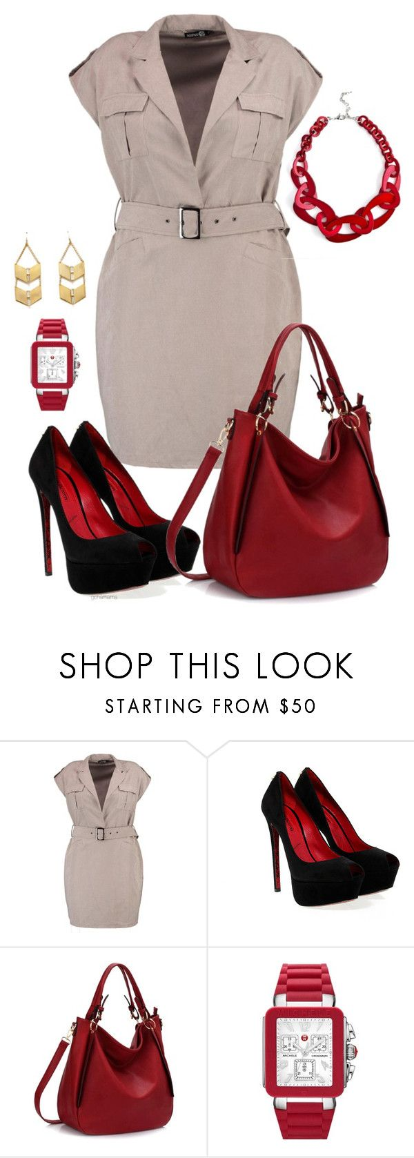 """""""Feeling good- plus size"""" by gchamama ❤ liked on Polyvore featuring Boohoo, Cesare Paciotti, Jene DeSpain and Michele"""