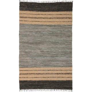 $211.99 Hand-woven Matador Grey Leather Rug (9' x 12')