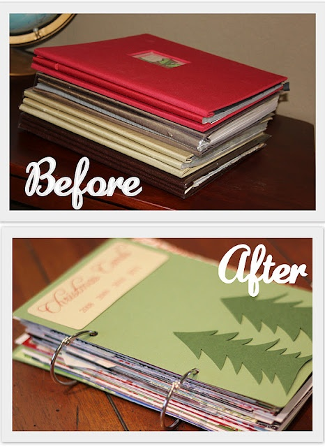 Christmas card storage. A great way to keep cards for all holidays!