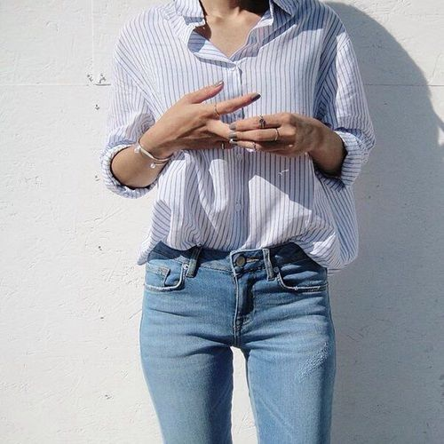 striped shirt, blue shirt, and light jeans image
