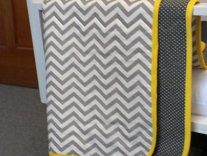 Organic Cotton Chevron Baby Blanket with Yellow Trim by Empire Eco Designs