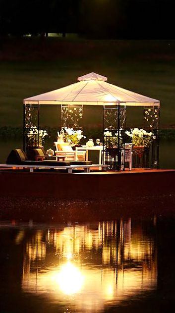 Romantic dinner for two by the lake by the pool by the for Romantic dinner