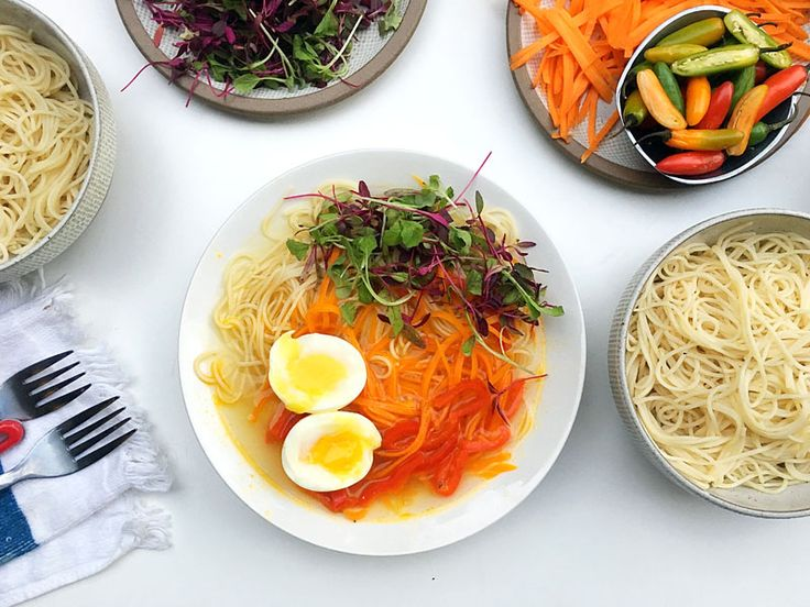 Hot Veggie Noodle Bowl with broth, eggs and microgreens - #Vegetarian #dairyfree #healthyrecipe