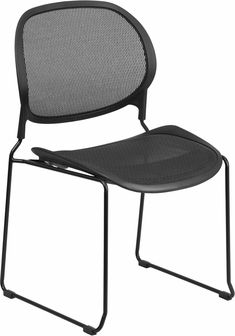 Stackable Black Mesh Side Chair, WR22BK GG By Flash Furniture | BizChair.com
