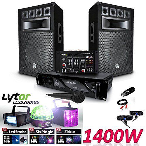 Pack Sonorisation 1400W complet + Table de mixage DJ Micro + Ampli MyDj AX + Câbles + 3 Jeux lumières LED