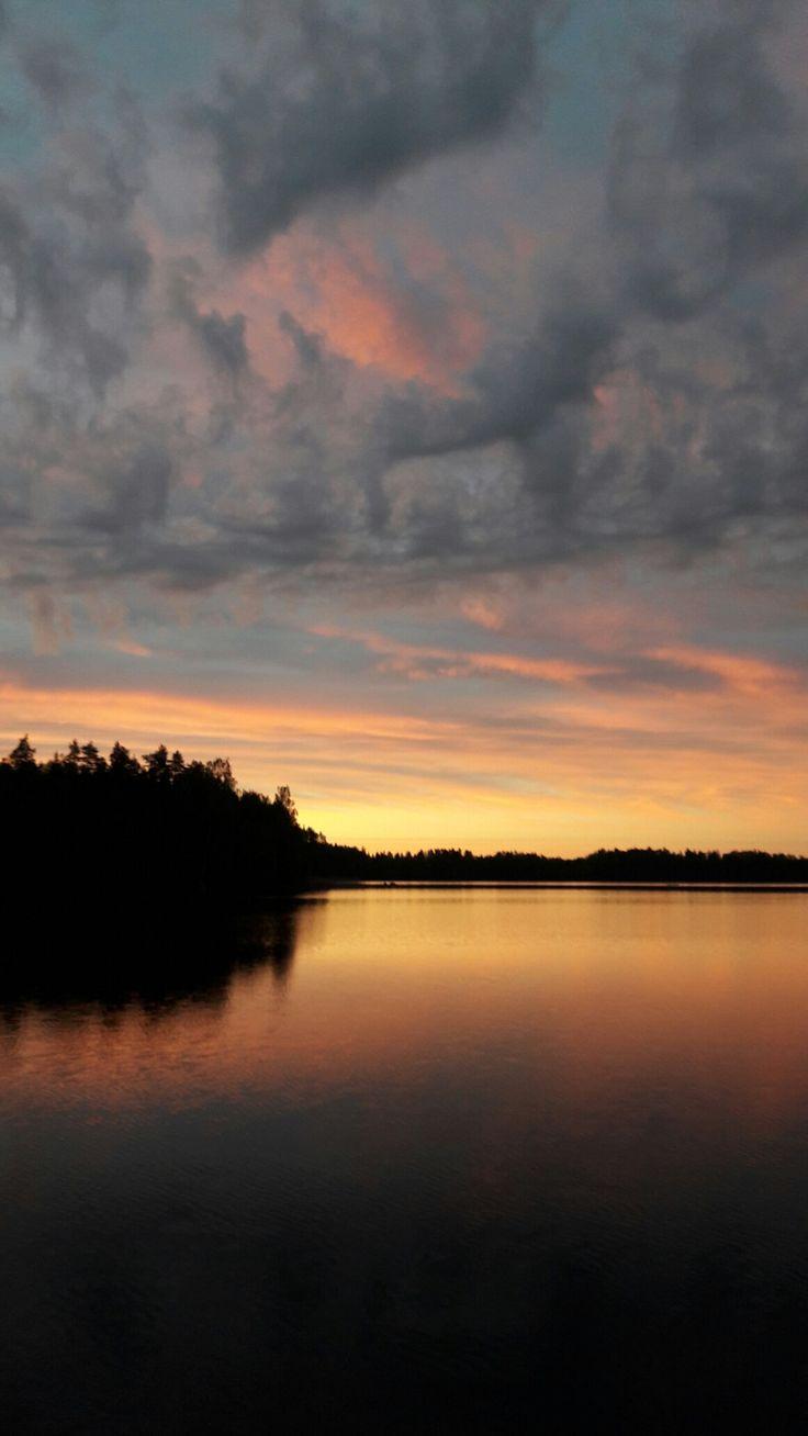 #Puula #ilta #Hirvensalmi #lake #summer #sunset #Finland