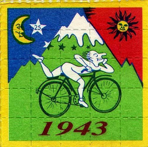 Bicycle Day 4/19 - Happy Birthday, LSD! April 19, 1943, Albert Hofmann performed a self-experiment to determine the true effects of LSD, intentionally ingesting 0.25mg of the substance, an amount he predicted to be a threshold dose (an actual threshold dose is 20mcg). Less than an hour later, Hofmann experienced sudden and intense changes in perception.