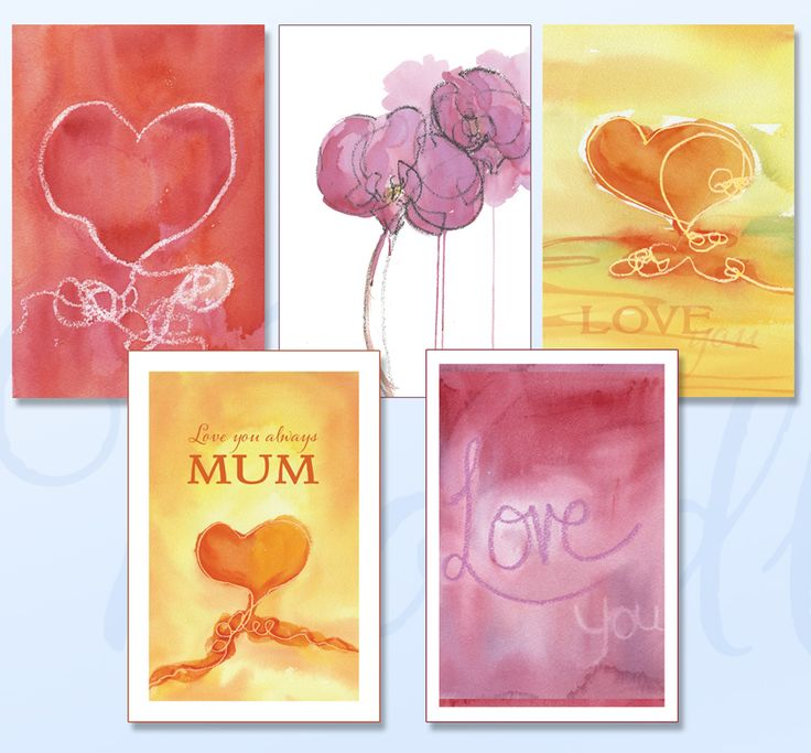 'LOVE YOU' Greeting card pack includes five cards featuring soft watercolours just for your special loved one. www.boodledesigns.com.au