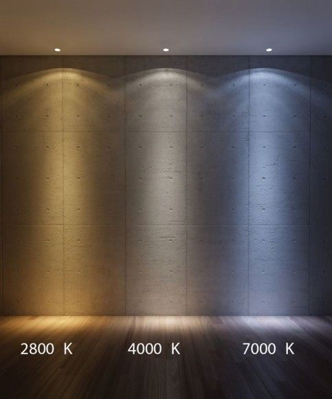 """Color temperature of light is measured in units called """"Kelvin"""". Shown are three different color temperatures: 2800K to 4000K to 7000K."""