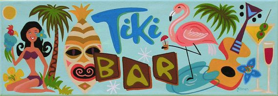 Mid Century Modern Eames Retro Limited Edition Print from Original Painting Tiki Bar Sign