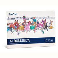 ALBUM MUSICA Album Musica su carta bianchissima extra-forte. ALBOMUSICA: 6 pentagrammi - f.to 17x24 cm, 16 fogli, ideale per l'iniziaione della musica