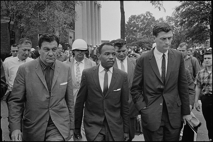 James Meredith, Civil Rights movement.  In 1962, he was the first African American student admitted to the segregated University of Mississippi, an event that was a flashpoint in the American civil rights movement. Motivated by President John F. Kennedy's inaugural address, Meredith decided to exercise his constitutional rights and apply to the University of Mississippi.