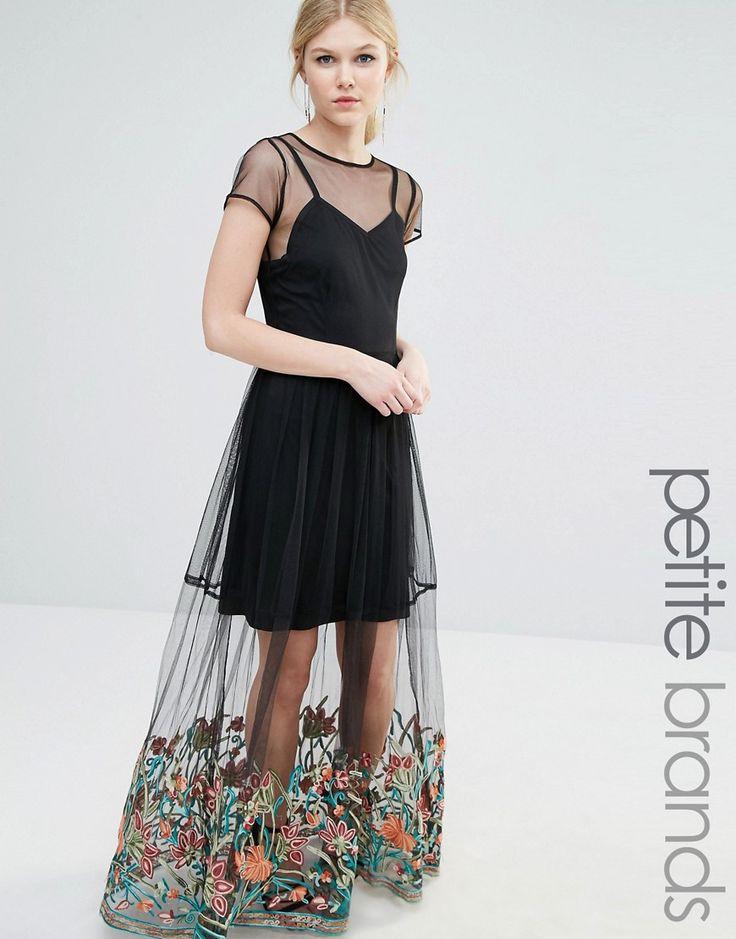 Image 1 ofBoohoo Petite Embroidered Hem Mesh Maxi Dress