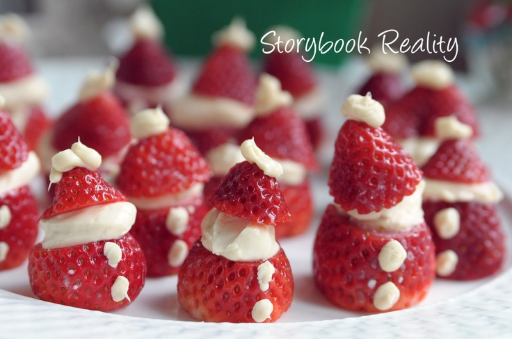 """These Strawberry """"Santas"""" can be used for any party - not just Christmas: http://storybookreality.blogspot.com/2012/12/strawberry-santas.html"""