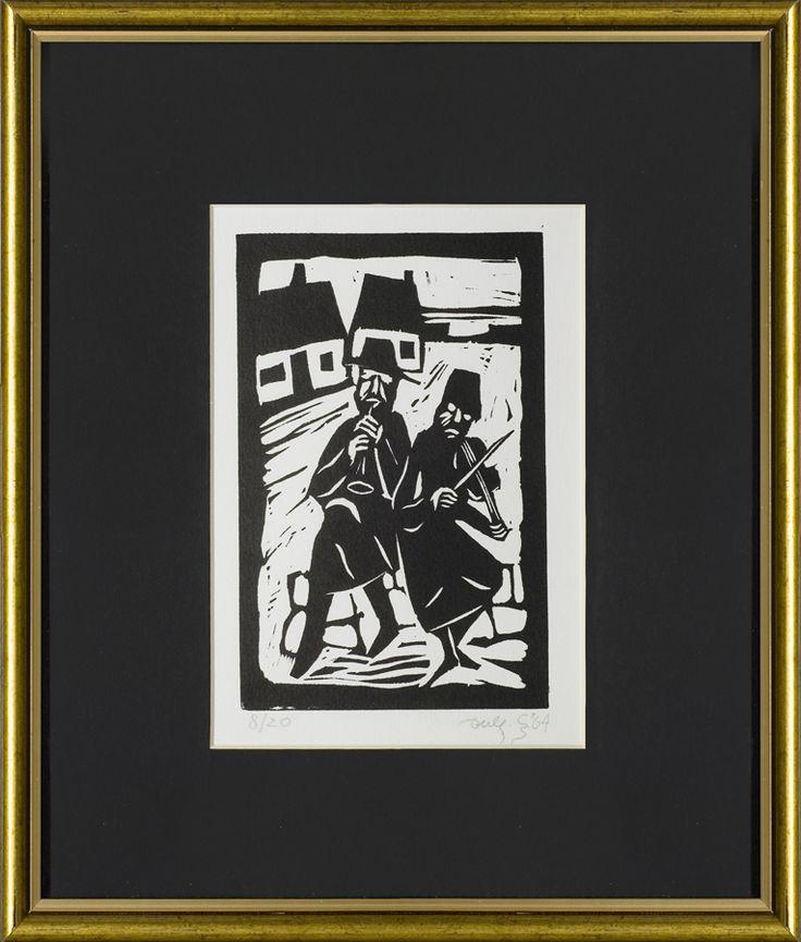 Jerzy Duda Gracz | DWAJ GRAJKOWIE, Z CYKLU JUDAICA, 1964 | linoryt, papier | 17.2 x 11.5 cm