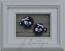 Black and White Skull Hair Clips - hc036 -$5.00 for pair available on jLj Bowtique