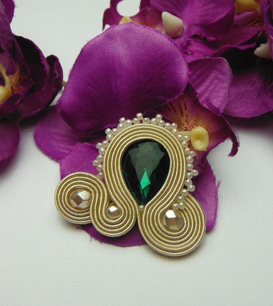Interchangeable Rings – Emerald beige ring soutache glamour  – a unique product by Soutacheria on DaWanda