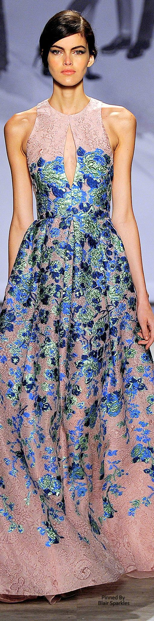 Lela Rose Spring 2015 RTW ♕♚εїз. Runway fashion. Blush embroidery dress with blue & green floral detailing!