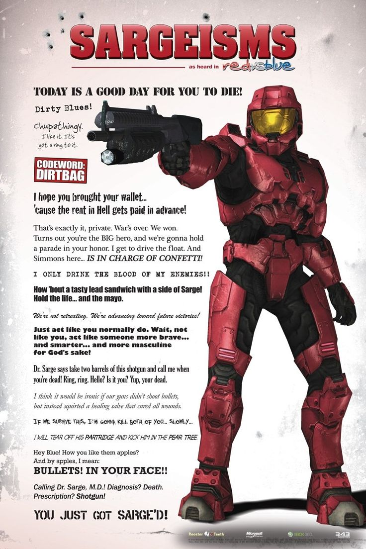 Red vs Blue - Sarge poster - RoosterTeeth.com/store Collect the entire Blood Gulch cast!