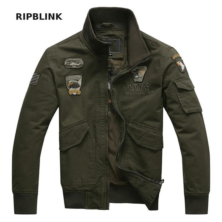 RIPBLINK Mens Jackets And Coats Aeronautica Militare Men Air Force One Military Jacket Army Green Bomber Jacket