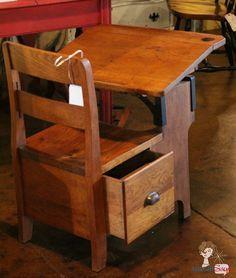Vintage Wooden School Desk With Drawer