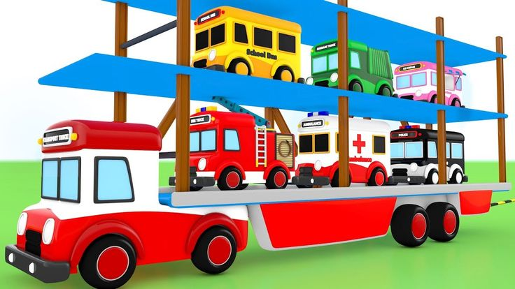 Emergency Vehicles for Kids - Giant Truck Transporting Toy Vehicles Colo...