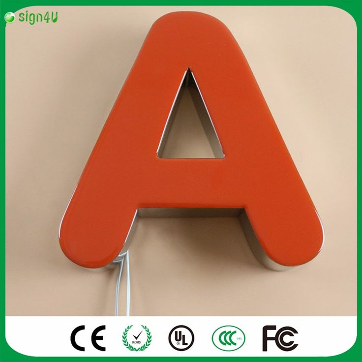 Aliexpress 3D red Acrylic LED light up sign chrome stainless steel channel letters sign
