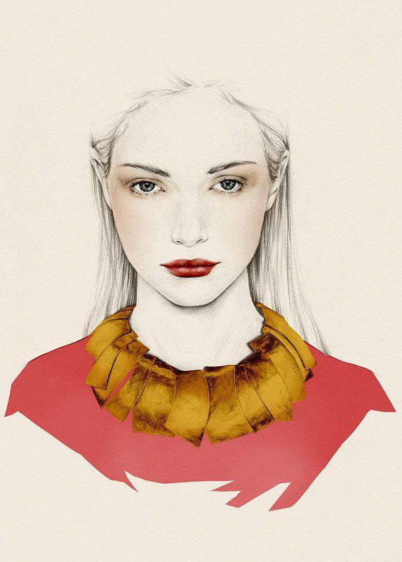 beautiful illustration, horoscope inspired woman portrait, print, Taurus 5x7 by emmaleonardart on Etsy
